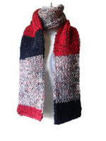 Knit Scarf Red Gray Black Stripe - Smitten Kitten Originals Knits - 2
