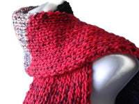 Knit Scarf Red Gray Black Stripe
