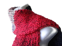 Knit Scarf Red Gray Black Stripe - Smitten Kitten Originals Knits - 3