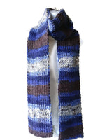 Blue Grey Brown Vegan Knit Scarf - Smitten Kitten Originals Knits - 2