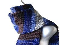 Blue Grey Brown Vegan Knit Scarf - Smitten Kitten Originals Knits - 1