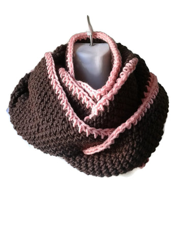 Caffe Brown & Pink Tipped Infinity Scarf - Smitten Kitten Originals Knits - 1