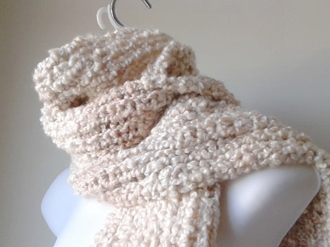 Cream & Brown Soft Knit Scarf - Smitten Kitten Originals Knits - 1