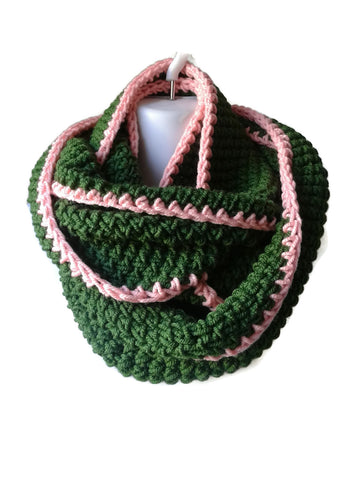 Preppy Green & Pink Tipped Infinity Scarf - Smitten Kitten Originals Knits - 1