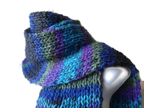 Purple Green Black Blue Stripe Knit Scarf Vegan - Smitten Kitten Originals Knits - 1
