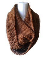 Lightweight Russet Brown Merino Blend Infinity Scarf - Smitten Kitten Originals Knits - 1