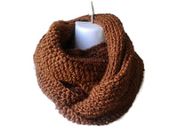 Lightweight Russet Brown Merino Blend Infinity Scarf - Smitten Kitten Originals Knits - 2