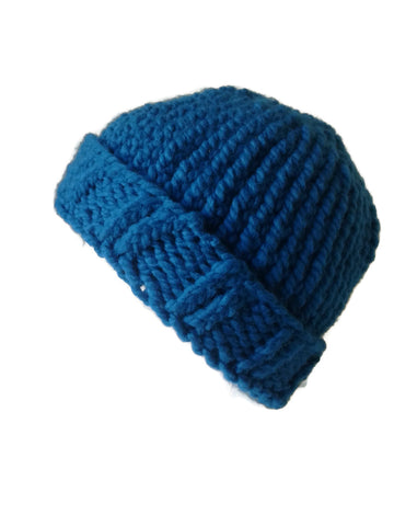 Chunky Knit Hat Ocean Blue - Smitten Kitten Originals Knits - 1