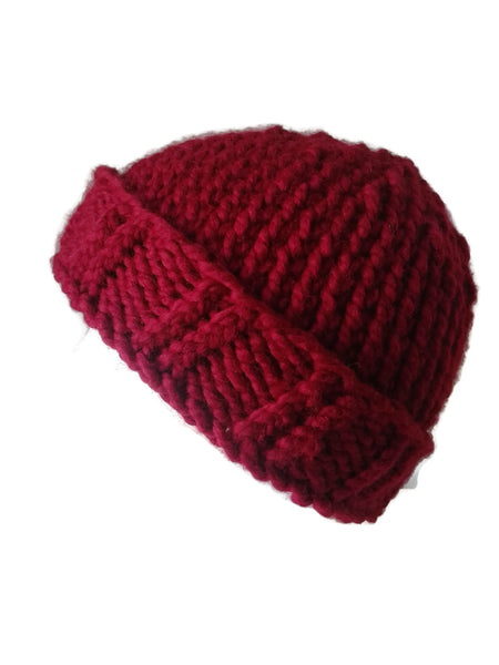 Chunky Knit Hat Cranberry Red - Smitten Kitten Originals Knits - 1