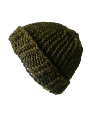 Chunky Knit Hat Moss Green - Smitten Kitten Originals Knits - 1