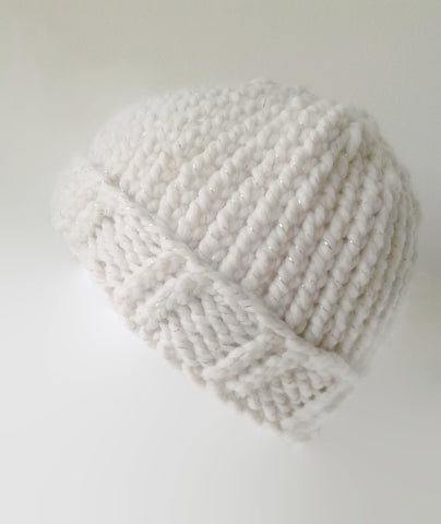 Chunky Knit Hat Cream Sparkle - Smitten Kitten Originals Knits - 1