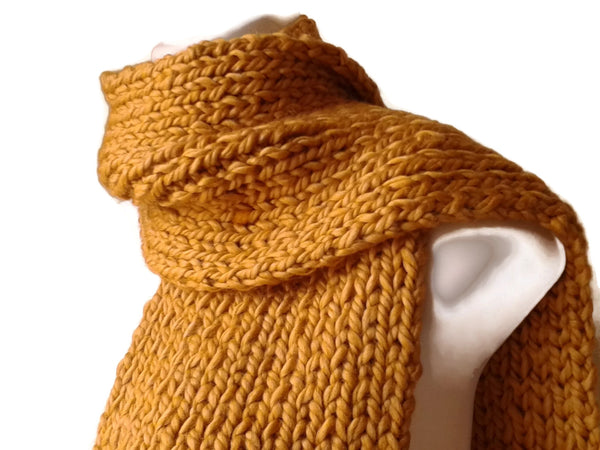 Chunky Mustard Yellow Hand Knit Scarf - Smitten Kitten Originals Knits - 1