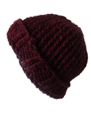 Chunky Knit Hat Burgundy - Smitten Kitten Originals Knits - 1
