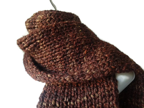Chunky Knit Scarf Marled Brown Heather - Smitten Kitten Originals Knits - 1