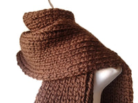 Chunky Knit Scarf Chocolate Brown - Smitten Kitten Originals Knits - 1