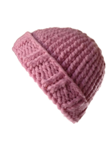 Chunky Knit Hat Pink Peony - Smitten Kitten Originals Knits - 1