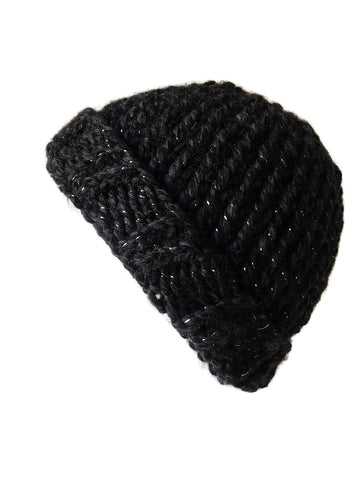 Chunky Knit Hat Black Sparkle - Smitten Kitten Originals Knits - 1