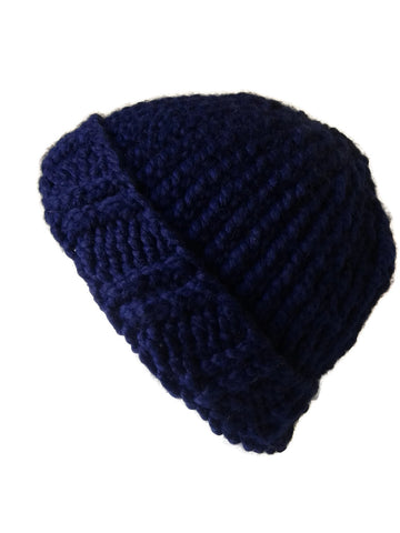 Chunky Knit Hat Navy Blue - Smitten Kitten Originals Knits - 1
