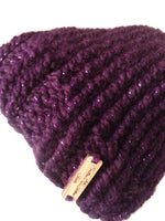 Chunky Knit Hat Purple Sparkle - Smitten Kitten Originals Knits - 4