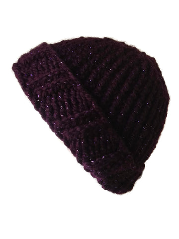 Chunky Knit Hat Purple Sparkle - Smitten Kitten Originals Knits - 1