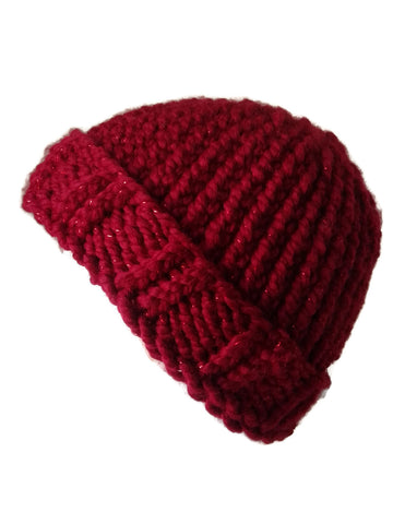 Chunky Knit Hat Red Sparkle - Smitten Kitten Originals Knits - 2