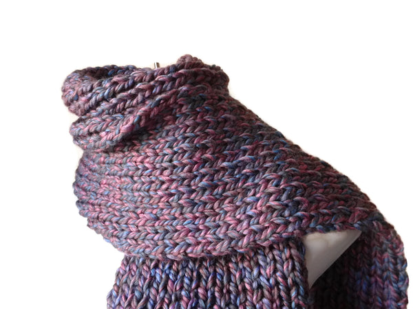 Chunky Knit Scarf Purple and Blue Marl - Smitten Kitten Originals Knits - 1