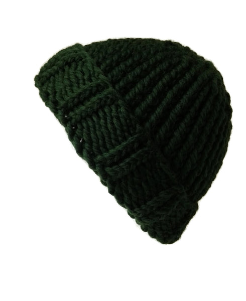 Merino Wool Chunky Knit Hat Forest Green - Smitten Kitten Originals Knits - 1