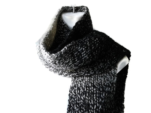 Black White Marled Ombre Knit Scarf - Smitten Kitten Originals Knits - 1