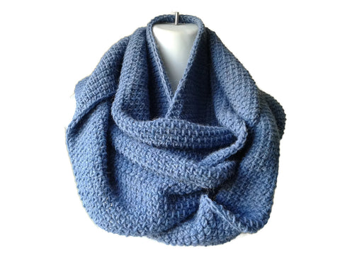 Chambray Blue Alpaca Infinity Scarf - Smitten Kitten Originals Knits - 1