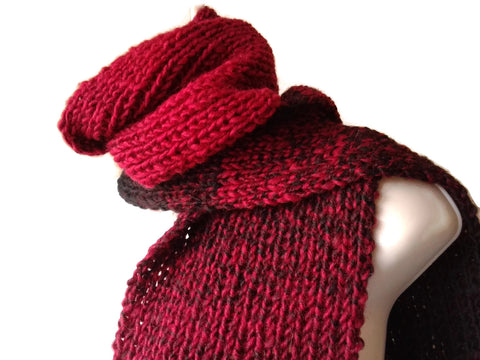 Red Black Marled Ombre Knit Scarf - Smitten Kitten Originals Knits - 1