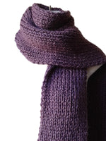 purple knit winter scarf