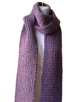 purple knit vegan scarf