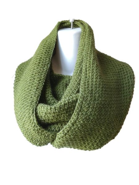 Avocado Green Wool Blend Circle Scarf