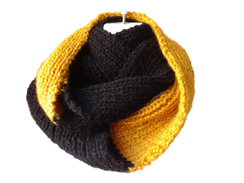 Black and Golden Yellow Hand Knit Infinity Scarf
