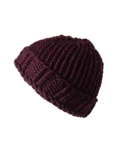 Merino Wool Chunky Knit Hat Eggplant Purple