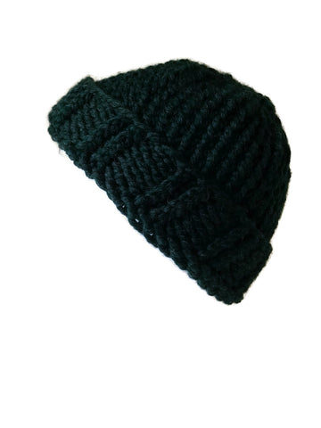 Chunky Knit Hat Pine Green