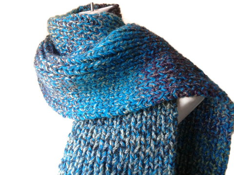 Double Thick Knit Scarf in Blue Purple Green and Grey