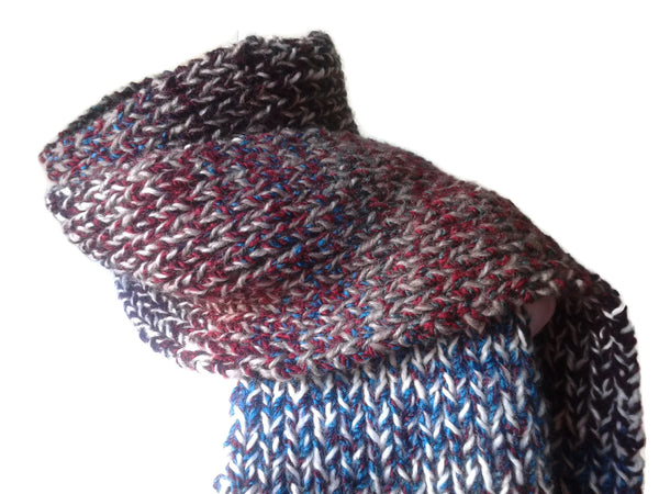 Double Thick Knit Scarf in Red White Blue and Brown