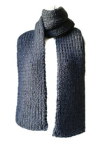 Chunky Charcoal Grey Hand Knit Scarf