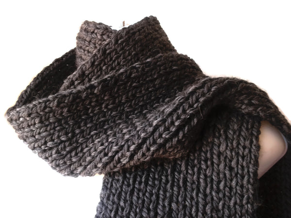 Merino Wool Knit Scarf Charcoal
