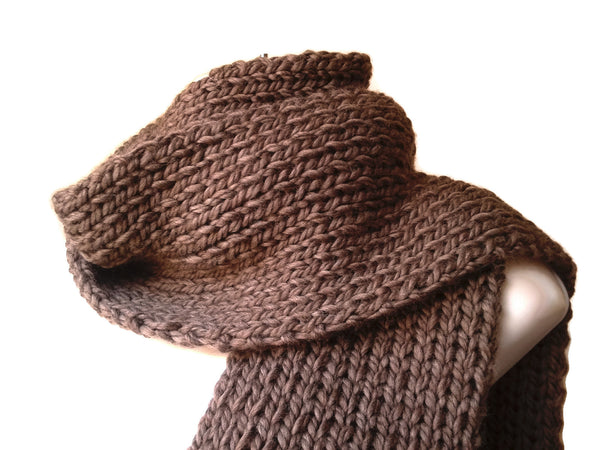 Merino Wool Knit Scarf Stone Heather