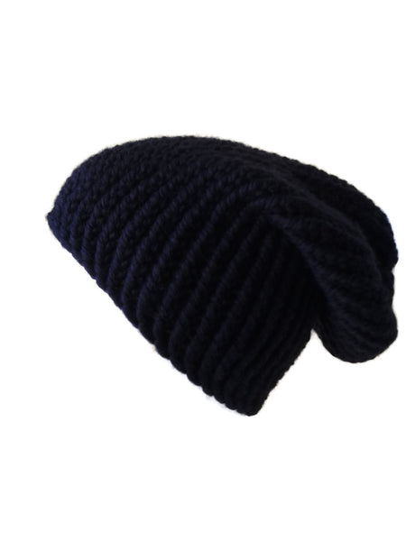 Merino Wool Knit Slouch Hat Charcoal Black