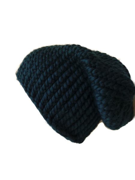 Merino Wool Knit Slouch Hat Evergreen