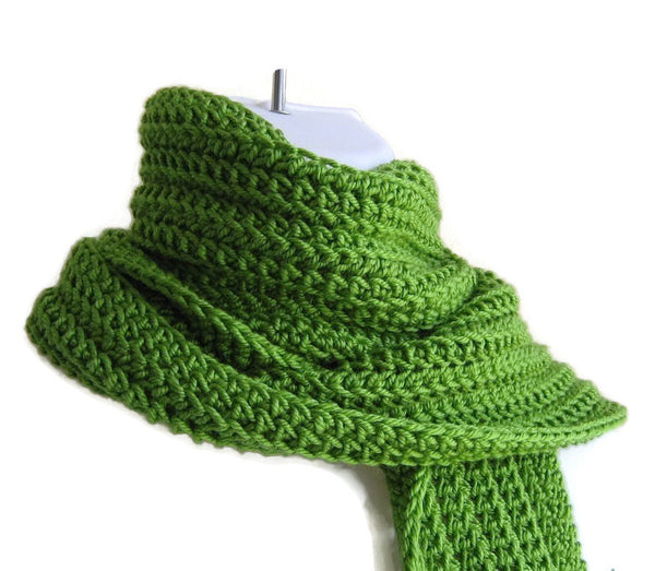 Lime Light Green Winter Scarf - Smitten Kitten Originals Knits - 1