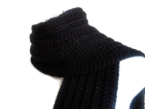 Solid Black Scarf Basic Black - Smitten Kitten Originals Knits - 1
