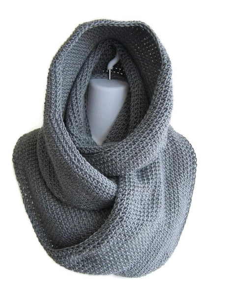 Grey Scrolling Infinity Scarf Cowl Made to Order - Smitten Kitten Originals Knits - 1