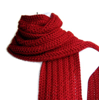 Red Crochet Winter Scarf - Smitten Kitten Originals Knits - 2