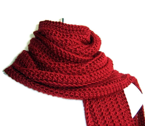 Red Crochet Winter Scarf
