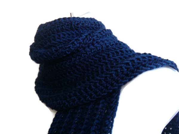 Dark Navy Blue Scarf - Smitten Kitten Originals Knits - 1