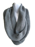 Grey Scrolling Infinity Scarf Cowl Made to Order - Smitten Kitten Originals Knits - 3